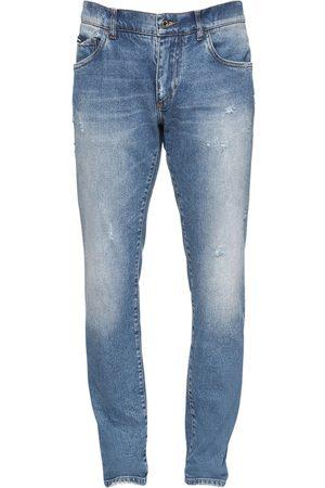 Dolce & Gabbana 16.5cm Logo Label Cotton Denim Jeans
