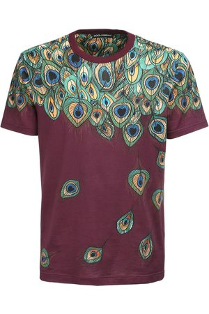 Dolce & Gabbana Peacock Feather Print Cotton T-shirt