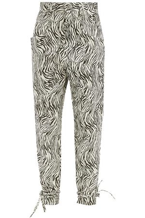 Isabel Marant Badeloisa High-rise Zebra-print Leather Trousers - Womens
