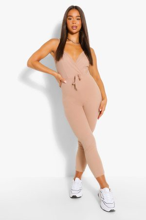 Boohoo Womens Ribbed Strappy Wrap Front Tie Waist Jumpsuit - - 4