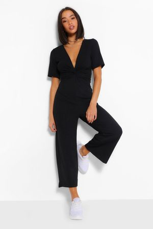 Boohoo Womens Ribbed Twist Front Culotte Jumpsuit - - 8