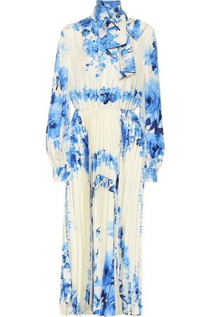 VALENTINO Floral silk-twill midi dress