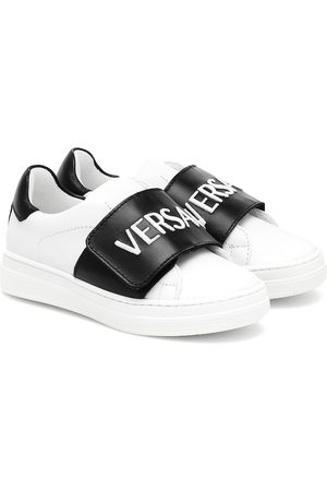 VERSACE Logo leather sneakers