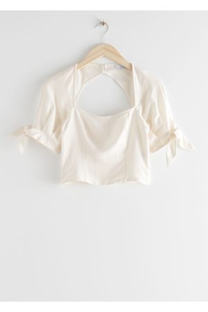 & OTHER STORIES Lyocell Linen Blend Tie Sleeve Top
