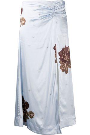 Ganni Floral print ruched detail skirt