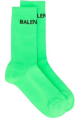 Balenciaga Men Socks - Logo-motif ribbed-edge socks