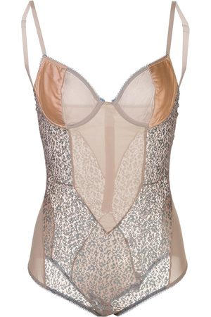 Kiki de Montparnasse Tiger Lily lace and satin bodysuit - Neutrals