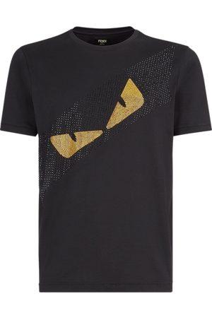 Fendi Men T-shirts - Crystal detail Bag Bugs motif T-shirt