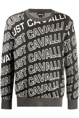 Roberto Cavalli Men Sweatshirts - Monogram logo crew neck jumper