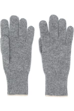 Brunello Cucinelli Men Gloves - Contrast-trimmed cashmere gloves - Grey