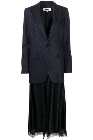 MM6 MAISON MARGIELA Women Blazers - Layered-slip pinstripe blazer