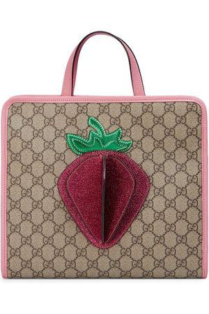 Gucci GG Supreme strawberry tote bag - Neutrals