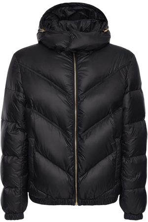 VERSACE Logo Hooded Nylon Down Jacket
