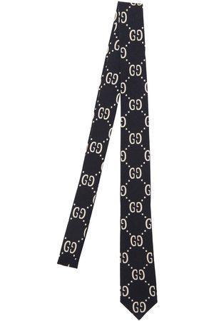 Gucci Logo Print Wool & Silk Tie
