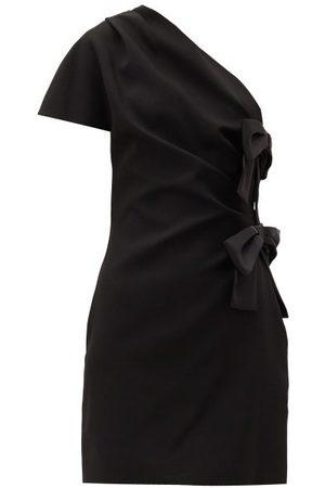 Saint Laurent One-shoulder Bow-tied Satin Mini Dress - Womens