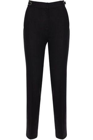 GABRIELA HEARST High Waist Textured Linen Straight Pants