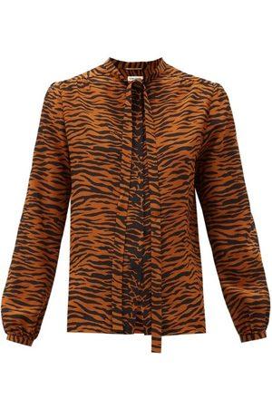 Saint Laurent Pussy-bow Tiger-print Silk Blouse - Womens - Animal