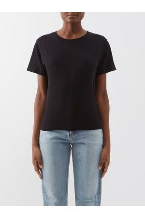 Saint Laurent Step-hem Cotton-jersey T-shirt - Womens