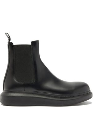 Alexander McQueen Men Chelsea Boots - Hybrid Exaggerated-sole Leather Chelsea Boots - Mens