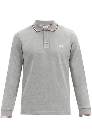 Moncler Logo Cotton-piqué Long-sleeved Polo Shirt - Mens - Grey