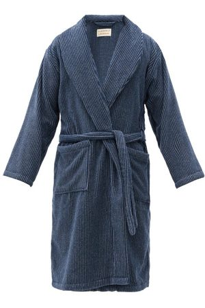 Cleverly Laundry Striped Cotton-terry Bathrobe - Mens - Navy