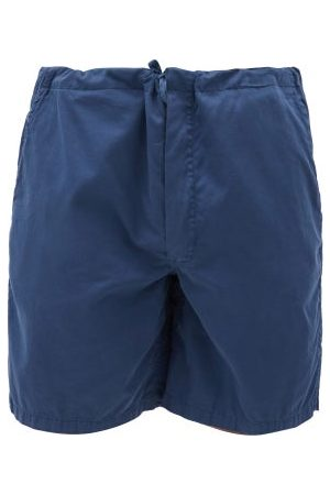 Cleverly Laundry Superfine-cotton Sateen Shorts - Mens - Navy