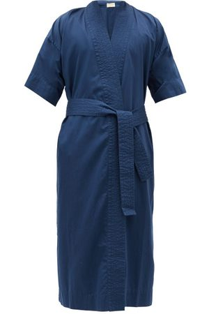 Cleverly Laundry Superfine-cotton Sateen Robe - Mens - Navy