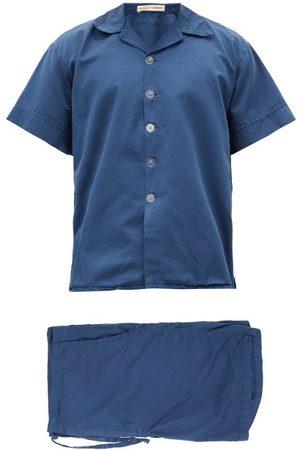 Cleverly Laundry Men Pajamas - Superfine-cotton Sateen Pyjama Set - Mens - Navy