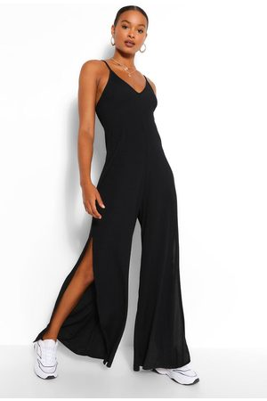 Boohoo Women Jumpsuits - Womens Ribbed Strappy Oversized Split Leg Jumpsuit - - 4