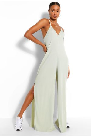 Boohoo Womens Ribbed Strappy Oversized Split Leg Jumpsuit - - 4