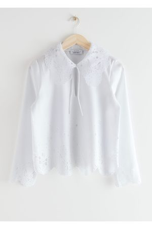 & OTHER STORIES Wide Embroidered Scalloped Blouse