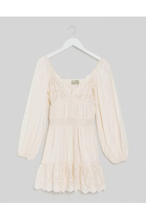 ASOS Women Party Dresses - Sweetheart broderie mini dress with elasticated waist and long sleeves in cream