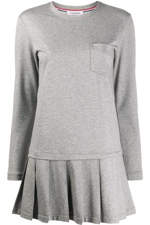 Thom Browne Drop waist pleated bottom dress in light weight loopback - Grey