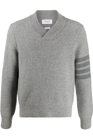 Thom Browne Tonal 4-Bar shawl pullover - Grey