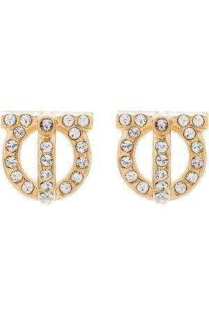 Salvatore Ferragamo Gancini -tone crystal earrings