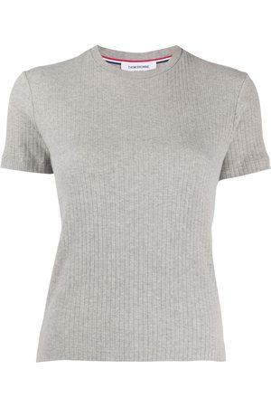 Thom Browne Short Sleeve Tee In High Twisted Rib - Grey