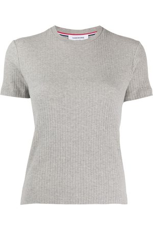 Thom Browne Women T-shirts - 4-Bar side insert ribbed T-shirt - Grey