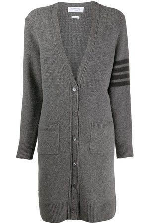 Thom Browne Long wool-blend cardigan - Grey