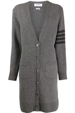 Thom Browne Women Cardigans - 4-Bar long V-neck cardigan - Grey