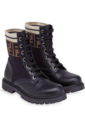 Fendi FF motif lace-up leather boots