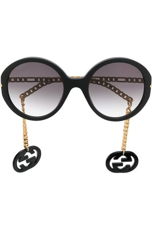 Gucci Detachable-charm oversize-frame sunglasses