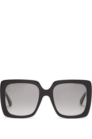 Gucci Women Square - Crystal-logo Oversized Square Acetate Sunglasses - Womens