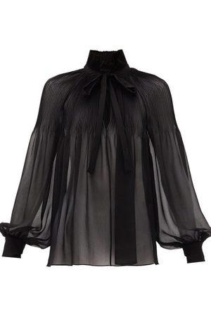 Saint Laurent Tie-neck Plissé Silk-georgette Blouse - Womens