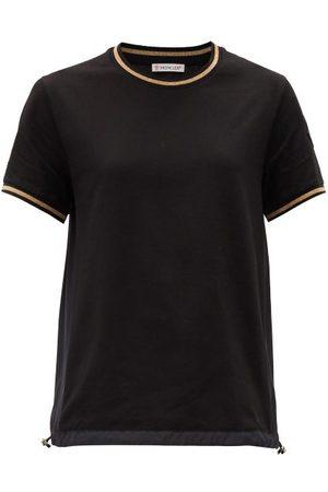 Moncler Logo-patch Metallic-trimmed Cotton-jersey T-shirt - Womens