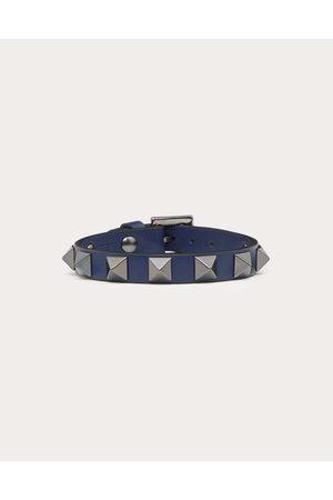 VALENTINO Men Bracelets - Rockstud Leather Bracelet With Ruthenium Studs Man Dark Grey 100% Pelle Di Vitello - Bos Taurus OneSize