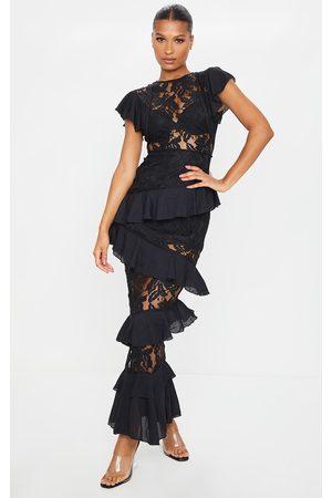 PRETTYLITTLETHING Lace Ruffle Detail Maxi Dress