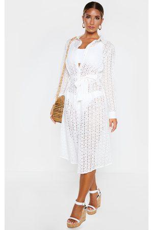PRETTYLITTLETHING Broderie Tie Waist Beach Dress