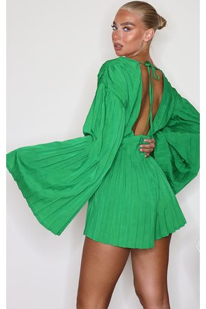 PRETTYLITTLETHING Satin Plunge Pleated Romper