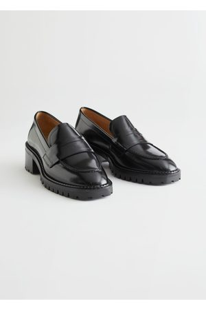 & OTHER STORIES Heeled Leather Penny Loafers