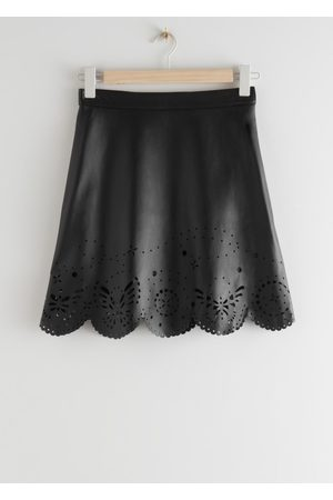 & OTHER STORIES Laser Cut Leather Mini Skirt